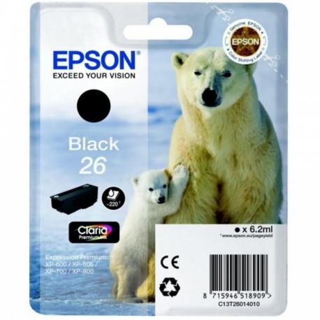 Epson 26 Noir Ours Polaire - T2601 - Cartouche jet d'encre d'origine