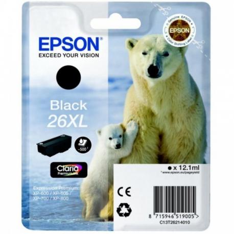 Epson 26 XL Noir Ours Polaire - Cartouche jet d'encre d'origine