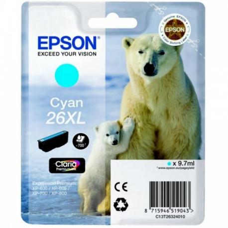 Epson 26 XL Cyan Ours Polaire - Cartouche jet d'encre d'origine