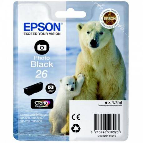 Epson 26 Noir Photo Ours Polaire - Cartouche jet d'encre d'origine