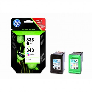 HP Pack N°338/343 - SD449EE - 2 Cartouches jet d'encre d'origine