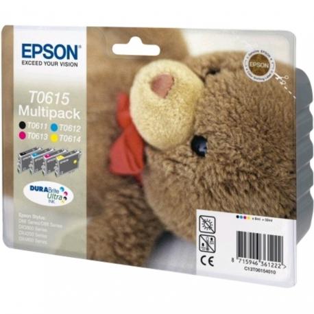 Epson Multipack T0615 Ourson - 4 Cartouches jet d'encre d'origine