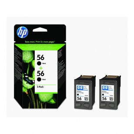 HP Pack N°56 x2 Noir - C9502AE - 2 Cartouches jet d'encre d'origine