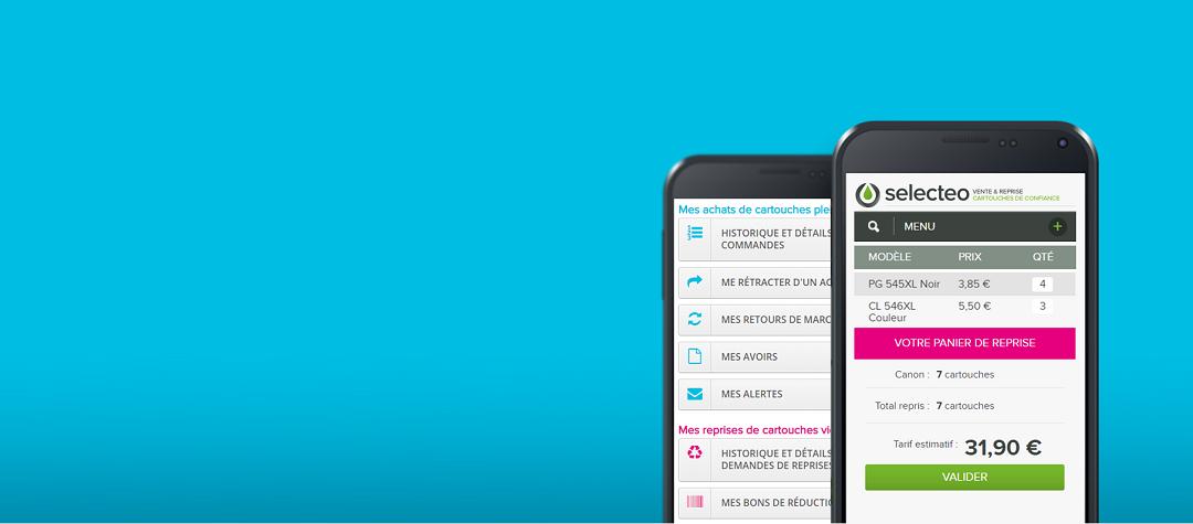 espace client de selecteo sur mobile